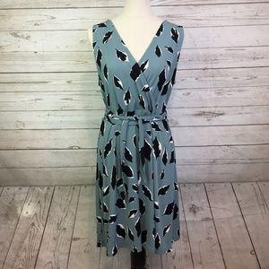 Loft dress LP swing tie waist leaf print faux wrap
